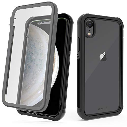 CellEver Compatible with iPhone XR Case, Clear Full Body Military Grade Heavy Duty Protection with Built-in Clear Screen Protector Shockproof Rugged Transparent Cover - Black