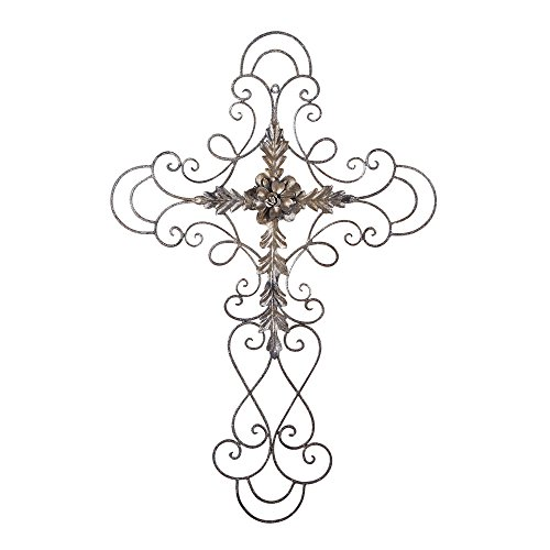 Adeco Golden Scrolled Flower Cross Metal Wall Decor - Art Oblong Living Room Home Decoration - 27.5x18 Inches