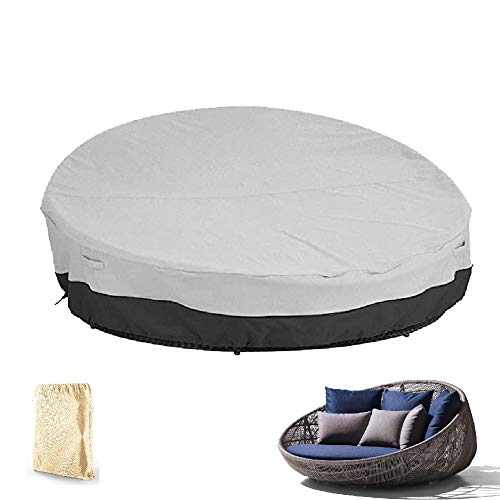 Waterproof Round Rattan Daybed Cover Waterproof 210D Oxford Fabric Breathable for Patio Sofa Furniture Covers, 2 Size, 2 Colors (Color : BLACK+GRAY, Size : 88X85X16/35INCH)