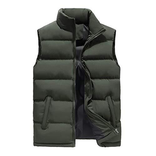 Chaqueta sin Mangas cálida para Hombre Chaleco de Invierno Chaleco Abrigo Informal Tallas Grandes 1986 Green 6XL