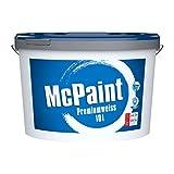 McPaint J121730, weiß, Premiumweiß für den Innenbereich, matt 10 Liter, hochwertige Wandfarbe, beste Deckkraft universelle Innenfarbe, bis zu 80m² -weitere Größen verfügbar