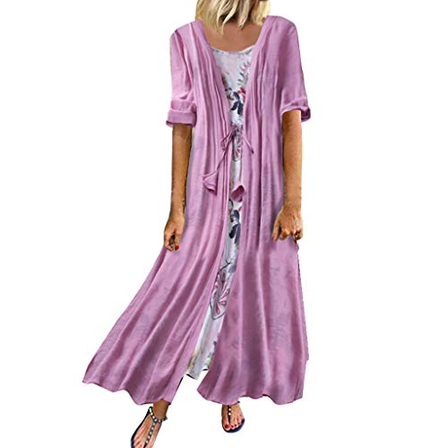 New POTO Dresses for Women 2 PCS Plus Size Boho O-Neck Floral Print Short Sleeve Retro Linen Flowy P...