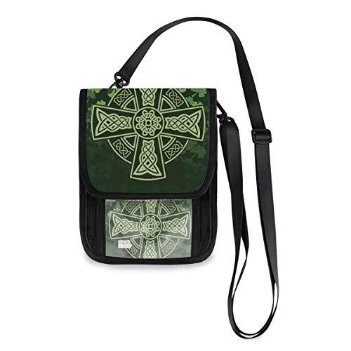 Travel Neck Wallet Celtic Cross Shamrock Passport Holder Organized Travel Neck Pouch Crossbody Phone Bag for Women Men