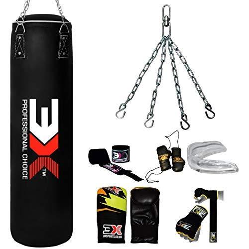 Saco de boxeo para entrenamiento de boxeo, 4 piezas, relleno de 1,5 m, soporte de pared, guantes de perforación y cadena de acero para kickboxing, adulto, gimnasio, 1,2 m, color negro (con soporte)