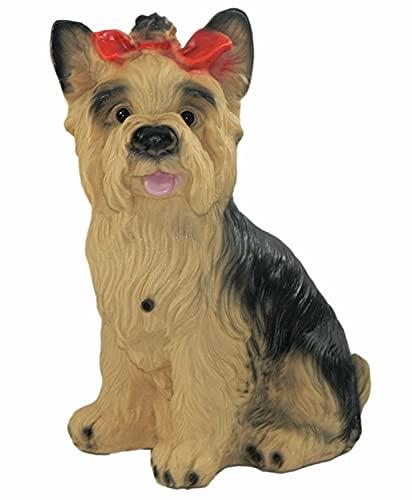 OM Deko Garten Figur Tierfigur Yorkshire Terrier groß mit Bewegungsmelder wau-wau aus Kunststoff Höhe 38 cm
