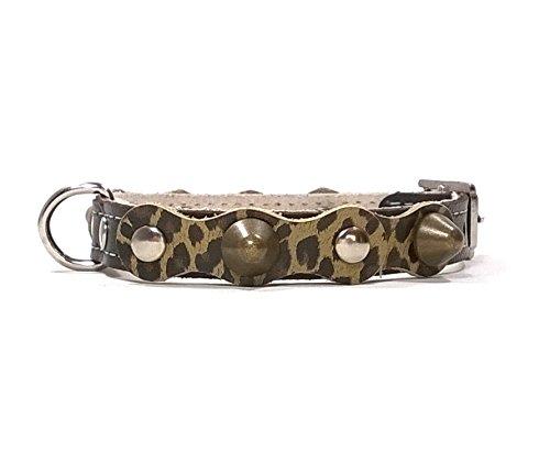 Hunde-Halsband, Schwarz Leder mit Leopard Muster, Handmade Design mit Nieten, Robuste Ausgefallene Qualität für Welpen, Chihuahuas und Kleine Hunde, 25 cm XXXS: Halsumfang 15-20 cm, Breit 13mm
