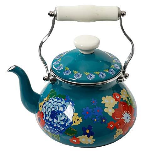 The Pioneer Woman Floral Dazzling Dahlias 2-Quart Tea Kettle, Steel with Enamel Finish, (2-Quart Tea Kettle)