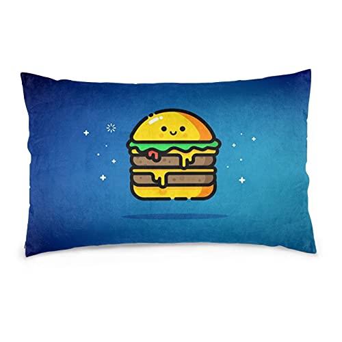Funda de almohada decorativa con diseño de hamburguesa de queso, color azul, 50,8 x 76,2 cm