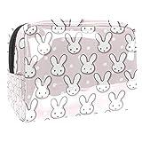 Bolsa de maquillaje de PVC portátil, bolsa de maquillaje con bolsa de viaje impermeable bolsa de almacenamiento para mujeres y niñas, bozales de conejo y lunares