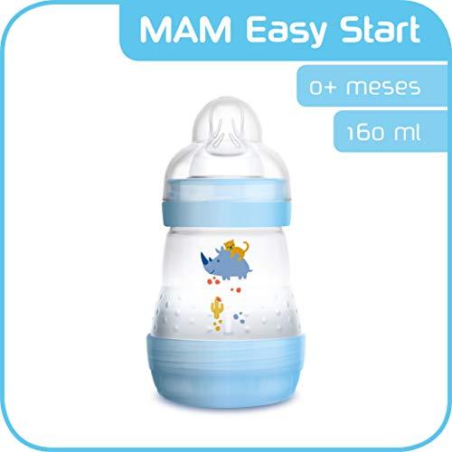 MAM Easy Start Anti-Colic 160 ml, Biberón anticólicos con base de ventilación, biberón MAM autoesterilizable con tetina MAM nº 1 de silicona extrasuave, 0+ meses, azul