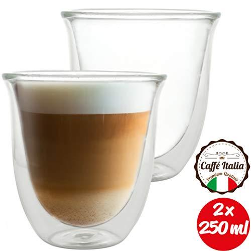 Caffé Italia Napoli - 2X Tasse Verre Double Paroi 250 ML - Tasse a Cafe pour de Latte Macchiato, Boissons Chaudes et Froides - Lavable au Lave-Vaisselle.