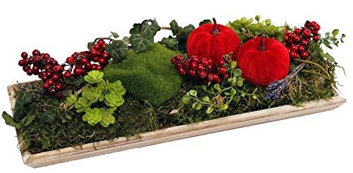 CreaFlor Home Tischgesteck Tischdeko Herbstgesteck länglich ca. 39cm