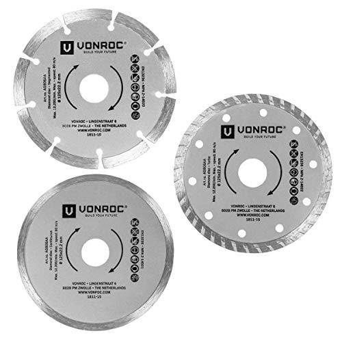 VONROC Universelles Diamant-Trennscheiben-Set 3-teilig - Segment, Turbo und Vollrand - Ø 125 x 1,2 x 22,2 mm