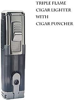 Promise by Honest Cigar Lighter, Torch Lighter Windproof, Triple 3 Jet Flame Lighter Butane Refillable with Built in Cigar Punch (Black)