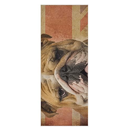 Manta de yoga Closeup Bulldog inglés jadeando en el paquete de toallas de yoga vintage Manta de yoga antideslizante súper suave adecuada para playa, gimnasio, parque, yoga y pilates, 73 x 2