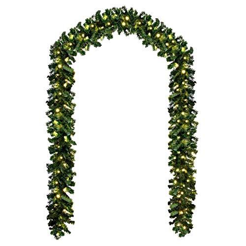 Baunsal GmbH & Co.KG Weihnachtsgirlande Tannengirlande Girlande grün 5 m und Lichterkette mit LEDs