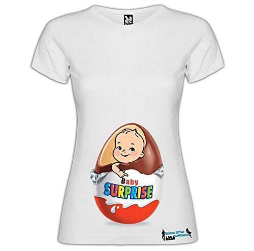 Generico Italian Style Diffusion - Camiseta para Madre de Maternidad Personalizada, diseño de Huevo de bebé Sorpresa Blanco M