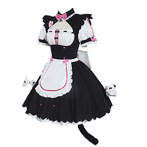 JiNKesI Nekopara Anime Cosplay Chocola Vanilla Dienstmädchen Uniformen Kleider Halloween Party Kostüme Vanilla Frauen Katzenohr Französisch Dienstmädchen Kostüm Kostüm für Halloween Cosplay Lolita