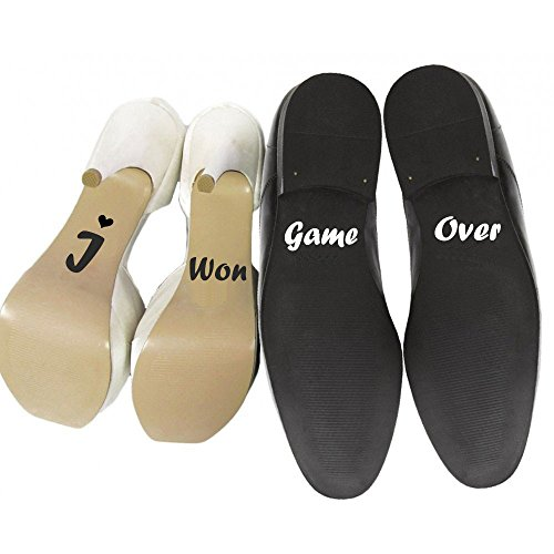 Wedding Shoe Decorative Stickers, 'He's Mine, She's Mine', 'Game Over, I Won', 'I Do, Me Too', 'Trophy Wife, Lucky Me' , Wedding Decoration Supplies (I Won (black) / Game Over (white))