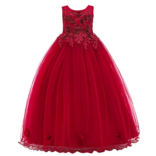 Long Tulle Junior Bridesmaid Dress with Pleating Style Lavender Infinity Dress Little Girls Prom Dresses Pageant Dress, Birthday Gifts Flower Girl Dresses Red 5-6 Years