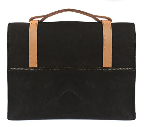 Chalk Factory Heavy Leather Messenger Bag Custom Made for Micromax Canvas Laptab II LT777 11. 6-inch Touchscreen Laptop #HNDL, BLACK
