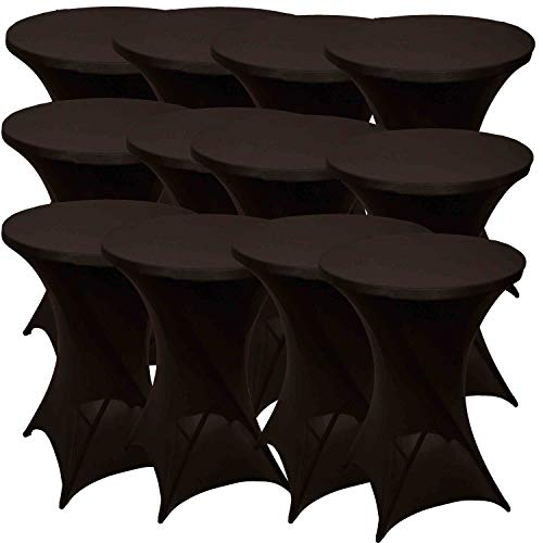 Conjunto de 12 Funda Mesa Alta   ∅80-85 x 110cm   Cubiertas Extensibles Mantel de Mesa para Taburetes mesas de pie Mesa de Bistro Catering   Adecuadas para Eventos de Hosteleria Boda   Negro