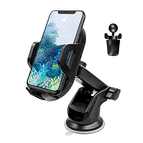 Phone Mount for Car, 360°Rotatable Car Phone Holder for Dashboard Windshield Air Vent, Compatible with iPhone 12/11/Pro, Samsung and More, Universal Cell Phone Holder with Clip and Suction Cup