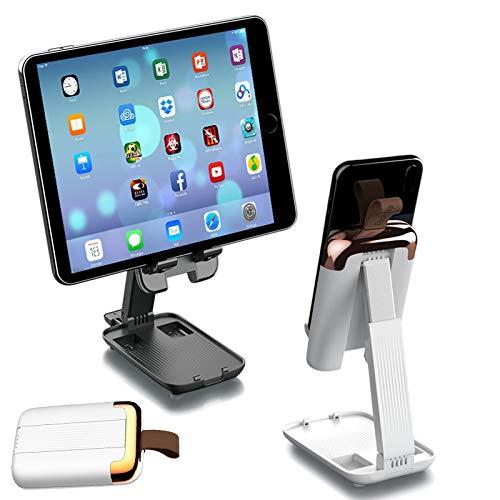 DolDer Soporte plegable para tableta, ángulo ajustable, universal, compatible con iPad Pro Mini, iPhone 12Pro/XR/X, Samsung Galaxy S20, Huawei Matepad Mate 30Pro, etc. (blanco)