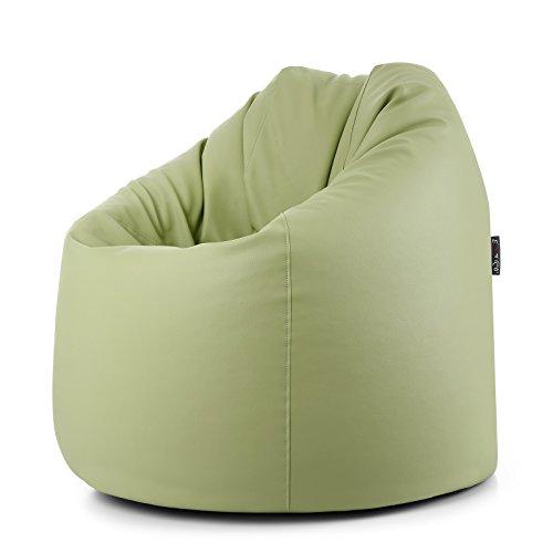 CAB Pouf Fauteuil Sac Doux et déhoussable en écocuir avec Fermeture éclair Style Moderne Vert Citron 78 x 78 x93 cm