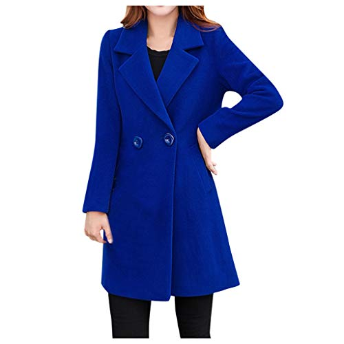 Xmiral Giacca Outwear Donna Invernale con Risvolto in Lana Trench Giacca a Maniche Lunghe Cappotto Outwear (M,Blu)