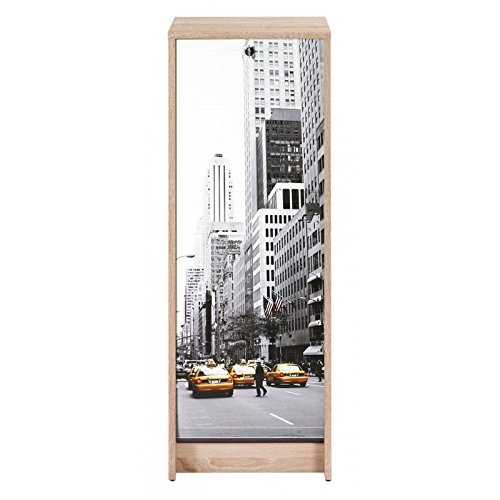 ACTUAL DIFFUSION Boost Classeur à Rideau Chêne Naturel Hauteur 104 cm-Coloris-Scene New York 504, 38,5x38x103,8 cm