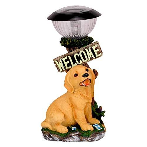 Fikujap Garden Dog Statue, Artificial Dog Animal Sculpture, Outdoor Solar Light, for Garden Courtyard Balcony Decoration