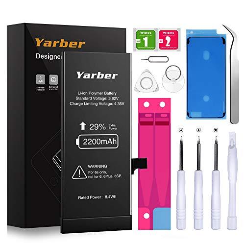 Batería para iPhone 6s, YARBER Alta Capacidad 2200mAh Li-Ion con 29% más de Capacidad y con Kits de Herramientas de reparación, Manual de Instrucciones e Cinta Adhesiva (Solo para iP6s)