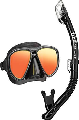 Tusa schnorchel-setPowerview Dry tauch-set maske trocken schnorchel erwachsene, mirror schwarz