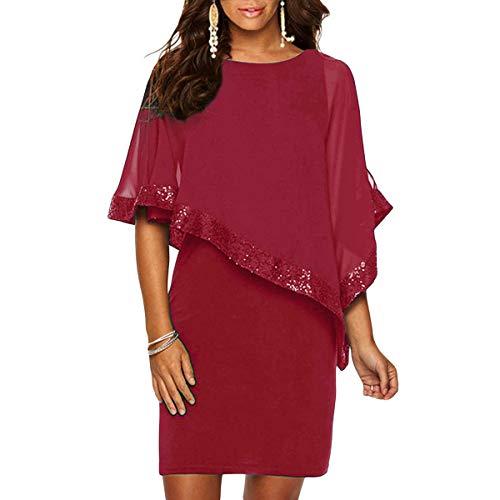 Ancapelion Damen Kleid Ärmellos Minikleid Chiffon Cocktailkleid Pailletten Pencil Partykleid Lässige Kleidung Abendkleid Frauenkleid Kleid für Frauen, Rot, L( EU 42-44)