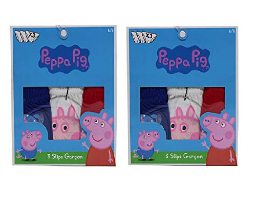 PeppaPig Peppa Wutz Unterwäsche Slips mit Georg Wutz im Weltraum 6er Pack aus 100% Baumwolle, Bunte Unterhosen für Kinder, Jungen, blau, rot, weiß (98)