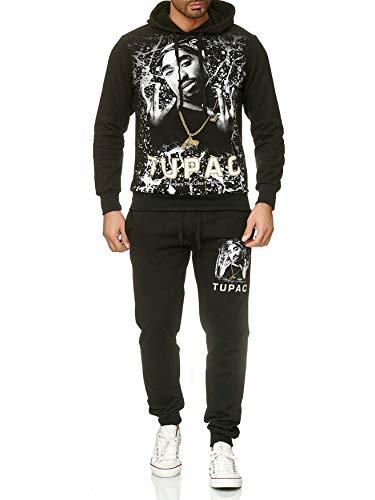 Herren Trainingsanzug 2Pac Shakur Jogginganzug Hip Hop, Farben:Schwarz, Größe Pullover:XL