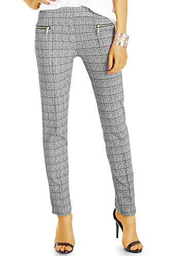 bestyledberlin BE Styled Damen Hosen Business Stretch Stoffhose im hellgrauen schwarzen Karomuster j55k M