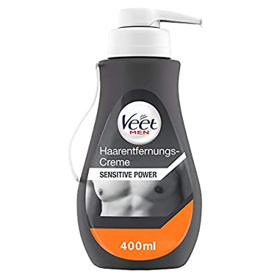 Veet Men Hair Removal Cream Sensitive - Fast & effective hair removal for men in just 5-10 minutes - 400 ml dispenser with spatula by Reckitt Benckiser