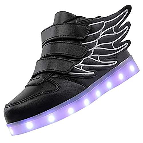 Zapatos LED Niños Niñas Negras Blanco 7 Color USB Carga LED Zapatillas Luces Luminosos Zapatillas Deportivos para Hombres Mujeres (Color : Black, Size : 29 EU)