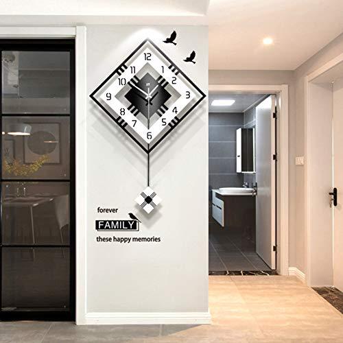 NgFTG Moderne Dekorative Wanduhr Mit Pendel, Großes Quadratische Einfache Pendel Uhr,Holz Schwarz Weiß Für Wohnzimmer Café Restaurant-schwarz 52x81cm(20x32inch)