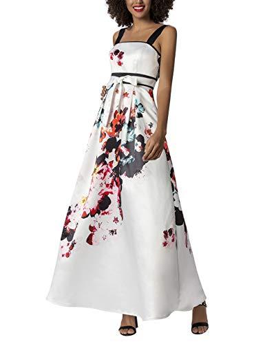 APART Damen Abendkleid mit angenähtem Satingürtel, Creme-Multicolor, 42