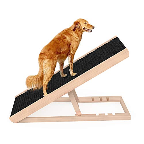 """SASRL Adjustable Pet Ramp for All Dogs and Cats - for Couch or Bed with Paw Traction Mat, 40 in Long and Adjustable from 9"""" to 24"""" - Non Slip Carpet Surface Height Adjustable Ramp Up to 200 Lbs"""