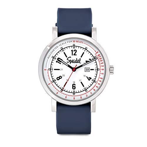 Speidel Scrub 30 Watch for Medical Professionals with Scrub Matching Navy Blue Silicone Band, Pulsometer, Date Window, Easy to Read Dial, Second Hand, Military Time for Nurses, Doctors, Students