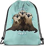 landianguangga Finding Dory Otter Cuddle Party 3D Print Drawstring Backpack Rucksack Shoulder Bags Gym Bag for Adult 16.9'X14'