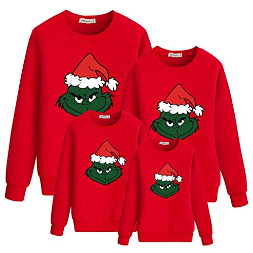 Maglione Natalizio Famiglia, Unisex Felpe Natale Famiglia 3D Stampa del Fumetto Autunno Inverno Moda Girocollo Manica Lunga Pullover Maglione per Donna Uomo Bambini Coppia (R,Mamma-M)