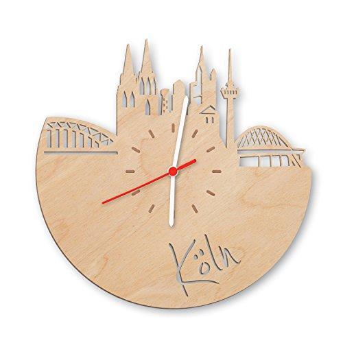 GRAVURZEILE Skyline Köln Wanduhr aus Birken-Holz Made in Germany Design Uhr aus Echtholz Wand-Deko aus Birke | Originelle Wand-Uhr Moderne Wand-Uhr im Skyline Design Wand-Dekoration aus Natur-Holz