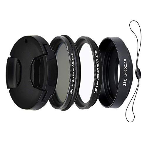 JJC Kit de parasol de objetivo de 4 piezas para cámara digital Canon G1X Mark III – incluye parasol de lente de aleación de aluminio, filtros MC UV y CPL, tapa de lente con cuerda