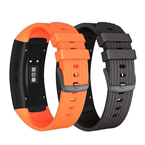 NotoCity Armband für Samsung Gear Fit 2 /Gear Fit 2 Pro, Quick-Fit Silikon Ersatz Armbänder, Mehrfache Farben (Schwarz + Orange,L)