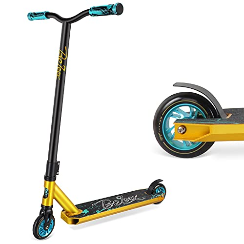 BELEEV Monopattino Freestyle per Bambini e Adolescenti Stunt Scooter con Nucleo in Alluminio da 100 mm Ruote e Cuscinetti a Sfera ABEC-9 Monopattino per Principianti Ragazzi(Teal)
